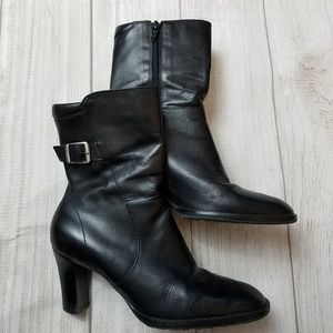 "Nickels Leather Ankle Booties. Size 6M 3"" Heel"